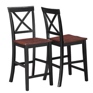 Verrazano Two-tone Wood Counter Stools (Set of 2)