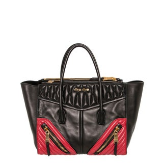 Miu Miu Matelassé Bicolor Nappa Leather Tote