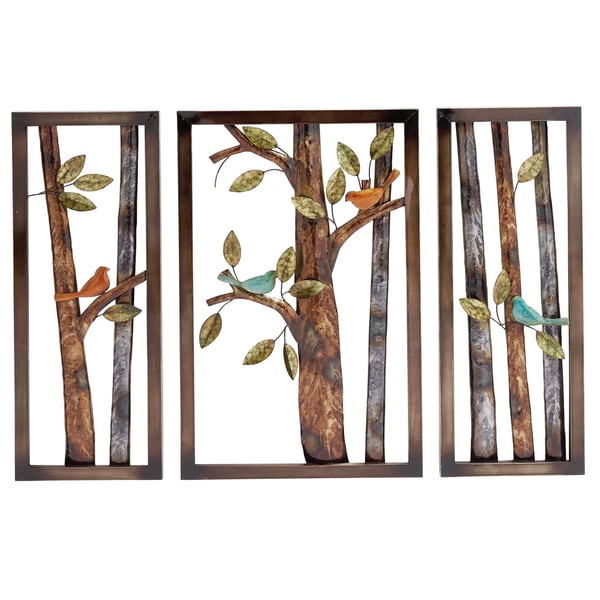 morning birds botanical handcrafted 3 piece metal wall art