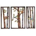 Morning Birds Botanical Handcrafted 3-piece Metal Wall Art Decor