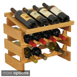 12-bottle Stackable Wood Dakota Wine Rack with Display Top