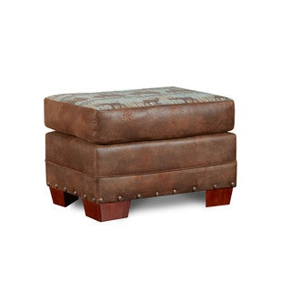 Sierra Mountain Lodge Microfiber and Printed Tapestry Ottoman