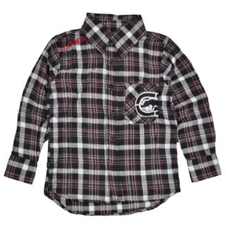 Ecko Unltd Boy's Black, White and Grey Plaid Button Down Shirt