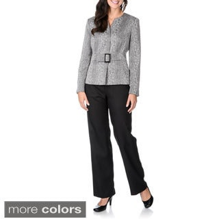Danillo Women's Novelty Fabrication Collarless Pant Suit