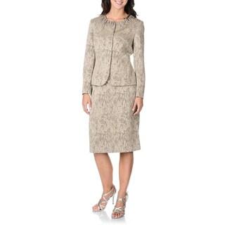 Danillo Women's Zig-zag Neck Detail Skirt Suit