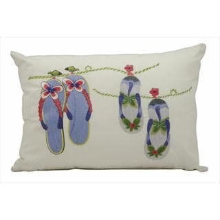 Mina Victory by Nourison Ivory Flip Flops Indoor/ Outdoor Throw Pillow