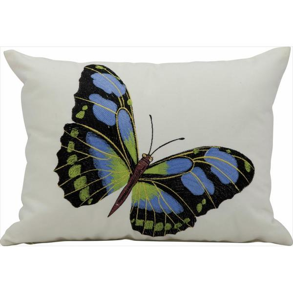 Mina Victory by Nourison Blue Butterfly Indoor/ Outdoor Throw Pillow