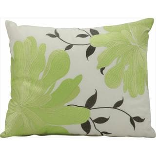 Mina Victory Indoor/Outdoor Corner Flowers Green Throw Pillow (12-inch x 14-inch) by Nourison