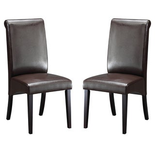 Abbyson Living Kingston Espresso Leather Dining Chair (Set of 2)