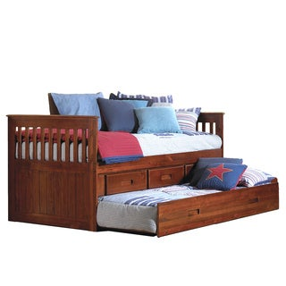 Merlot Stained Twin-size Rake Bed with Three Drawers