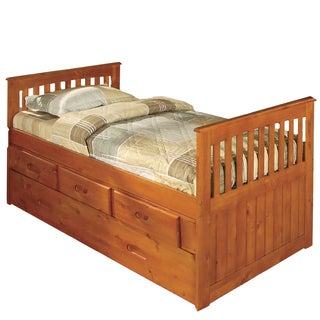 Honey Stained Twin-size Rake Bed with Three Drawers