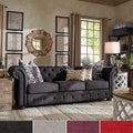 Tribecca Home Knightsbridge Dark Grey Tufted Scroll Arm Chesterfield Sofa