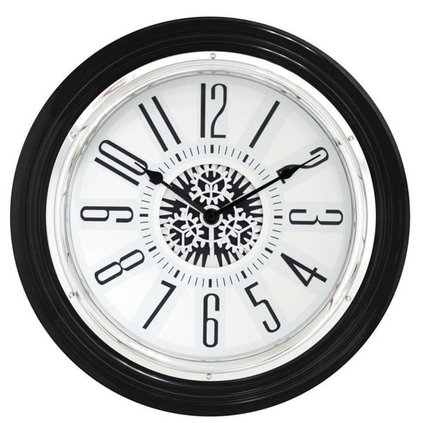 Clock Technology 15-inch Quartz Motion Black Rotating Gear Clock