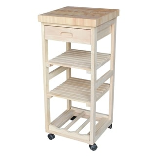 Unfinished Solid Parawood Kitchen Trolley