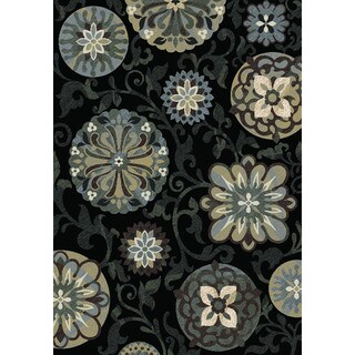Regal Contemporary Black Rug (5'3 x 7'7)