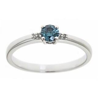 D'Yach Sterling Silver 1/3ct TDW Blue Diamond Ring (I1-I2)