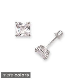 14k Gold 6 mm Princess-cut Cubic Zirconia Screwback Stud Earrings
