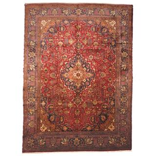 Herat Oriental Semi-antique 1960's Persian Hand-knotted Tabriz Red/ Navy Wool Rug (9'7 x 13')