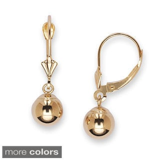 14k Yellow Gold 8 mm Ball Drop Leverback Dangle Earrings