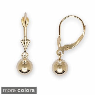 14k Yellow Gold 6 mm Ball Drop Leverback Dangle Earrings
