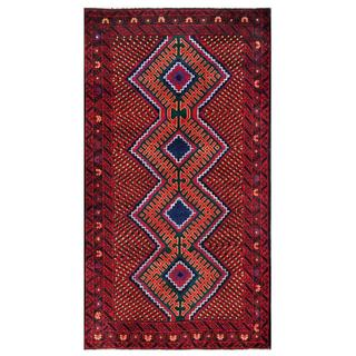 Herat Oriental Semi-antique Afghan Hand-knotted Tribal Balouchi Navy/ Red Wool Rug (3'5 x 6'4)