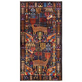 Herat Oriental Semi-antique Afghan Hand-knotted Tribal Balouchi Navy/ Red Wool Rug (3'6 x 6'6)