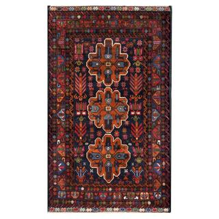 Herat Oriental Semi-antique Afghan Hand-knotted Tribal Balouchi Navy/ Brown Wool Rug (3'5 x 5'9)
