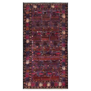 Herat Oriental Semi-antique Afghan Hand-knotted Tribal Balouchi Navy/ Brown Wool Rug (3'5 x 6'8)