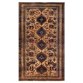 Herat Oriental Semi-antique Afghan Hand-knotted Tribal Balouchi Navy/ Beige Wool Rug (3'6 x 6'3)