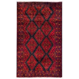 Herat Oriental Semi-antique Afghan Hand-knotted Tribal Balouchi Navy/ Red Wool Rug (3'8 x 6'1)