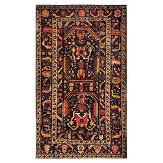 Herat Oriental Semi-antique Afghan Hand-knotted Tribal Balouchi Navy/ Beige Wool Rug (4'2 x 7')