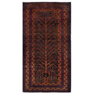 Herat Oriental Semi-antique Afghan Hand-knotted Tribal Balouchi Navy/ Rust Wool Rug (3'6 x 6'9)