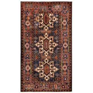 Herat Oriental Semi-antique Afghan Hand-knotted Tribal Balouchi Navy/ Brown Wool Rug (3'7 x 6'5)