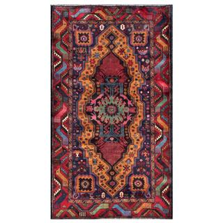 Herat Oriental Semi-antique Afghan Hand-knotted Tribal Balouchi Navy/ Brown Wool Rug (3'7 x 6'3)