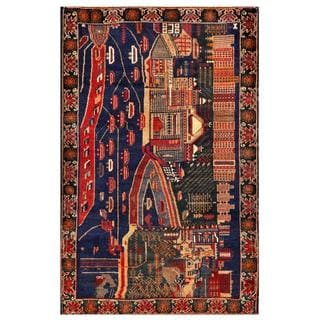 Herat Oriental Semi-antique Afghan Hand-knotted Tribal Balouchi Navy/ Brown Wool Rug (4'1 x 6'5)