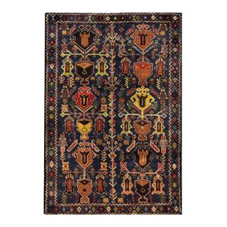 Herat Oriental Semi-antique Afghan Hand-knotted Tribal Balouchi Navy/ Green Wool Rug (4'1 x 6')