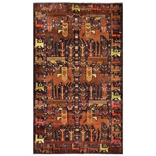 Herat Oriental Semi-antique Afghan Hand-knotted Tribal Balouchi Navy/ Brown Wool Rug (3'10 x 6'6)