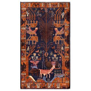 Herat Oriental Semi-antique Afghan Hand-knotted Tribal Balouchi Navy/ Brown Wool Rug (3'5 x 6'1)