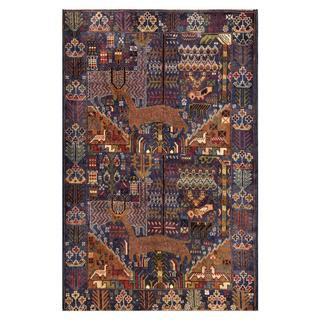 Herat Oriental Semi-antique Afghan Hand-knotted Tribal Balouchi Navy/ Brown Wool Rug (3'11 x 6')