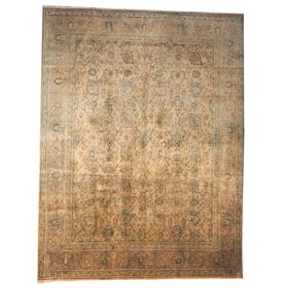 Herat Oriental Semi-antique 1920's Persian Hand-knotted Kashan Beige/ Light Blue Wool Rug (9'9 x 13')