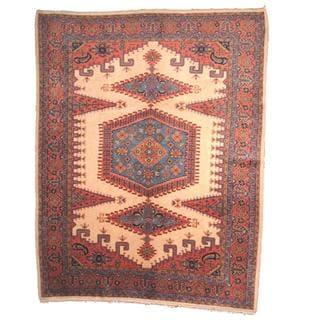 Herat Oriental Semi-antique 1960's Persian Hand-knotted Hamadan Beige/ Salmon Wool Rug (10'1 x 13')