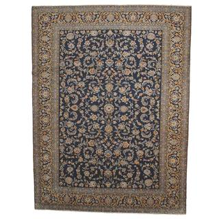Herat Oriental Semi-antique 1960's Persian Hand-knotted Kashan Navy/ Gold Wool Rug (9'8 x 12'10)