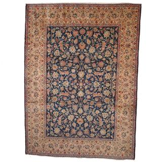 Herat Oriental Semi-antique 1950's Persian Hand-knotted Isfahan Navy/ Beige Wool Rug (9'3 x 12'11)