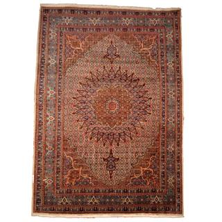 Herat Oriental Semi-antique 1960's Persian Hand-knotted Moud Navy/ Ivory Wool Rug (9'8 x 13'5)