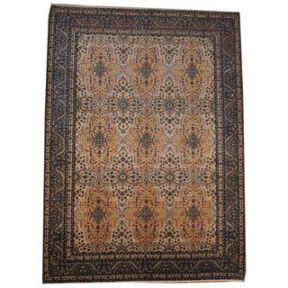 Herat Oriental Semi-antique 1960's Persian Hand-knotted Kashan Ivory/ Light Blue Wool Rug (9'6 x 13'4)