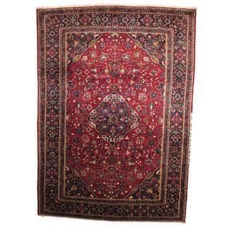 Herat Oriental Semi-antique 1960's Persian Hand-knotted Kashan Red/ Navy Wool Rug (9'10 x 13'10)