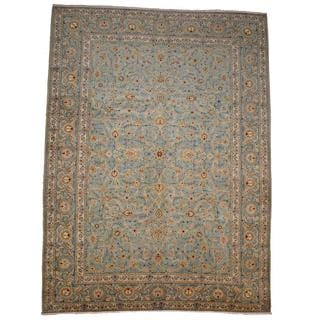 Herat Oriental Signature Semi-antique 1960's Persian Hand-knotted Kashan Light Green/ Ivory Wool Rug (9'8 x 13'2)