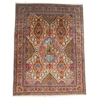 Herat Oriental Semi-antique 1960's Persian Hand-knotted Tabriz Ivory/ Light Blue Wool Rug (9'4 x 12'5)