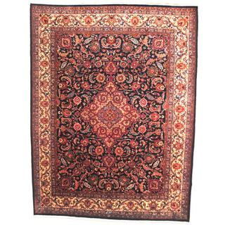 Herat Oriental Signature Semi-antique 1960's Persian Hand-knotted Mashad Navy/ Maroon Wool Rug (9'10 x 13'2)