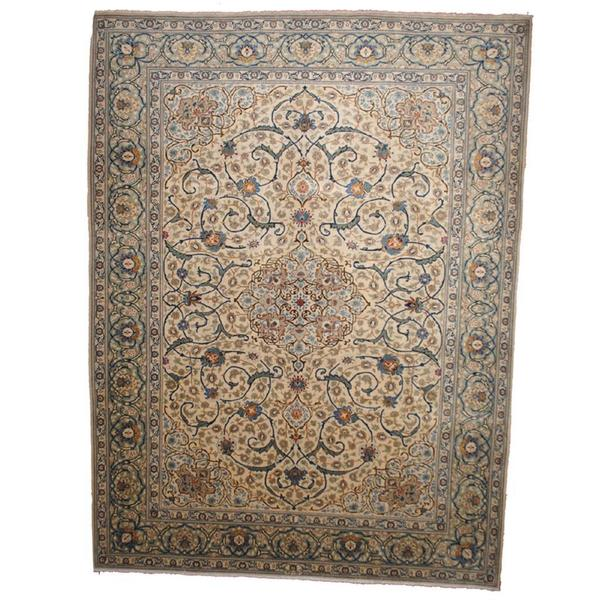 Hand Knotted Persian Isfahan Wool Area Rug: Herat Oriental Signature Semi-antique 1950's Persian Hand